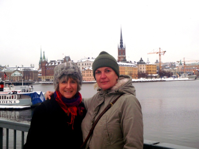 Katy and Lise -- view of Gamla Stan