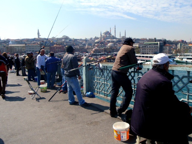 Galata Bridge fishermen
