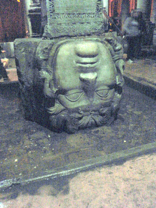 One of two Medusa heads in the Basilica Cistern