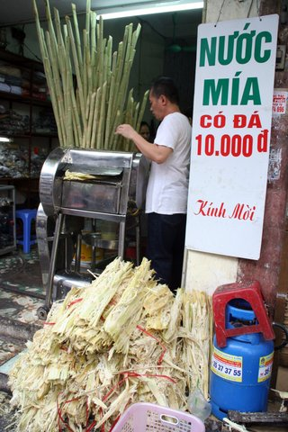 Making sugar cane juice (10,000 dong = $0.50)